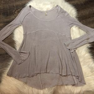 Free People Raw Hem Longsleeve Top